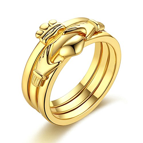 Aienid Gold Ring for Women Copper Heart Hand Cake Size 15