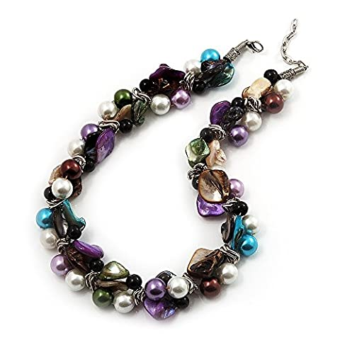 Exquisite Faux Pearl & Shell Composite Silver Tone Link Necklace