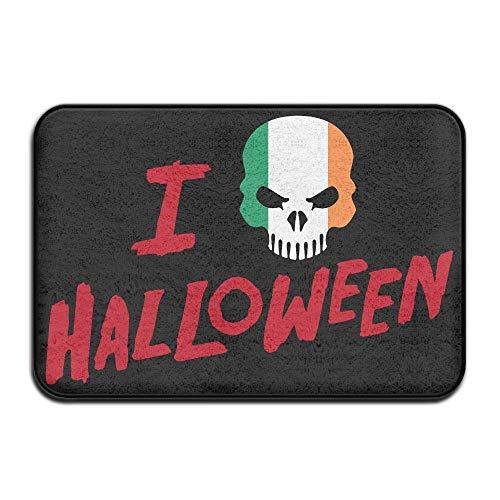 UYTGYUHIOJ Inside & Outside Floor Mat I Love Halloween Skull Irish Flag Design Pattern for Dining (Zu Zu Niedliche Machen Hause Halloween-ideen)