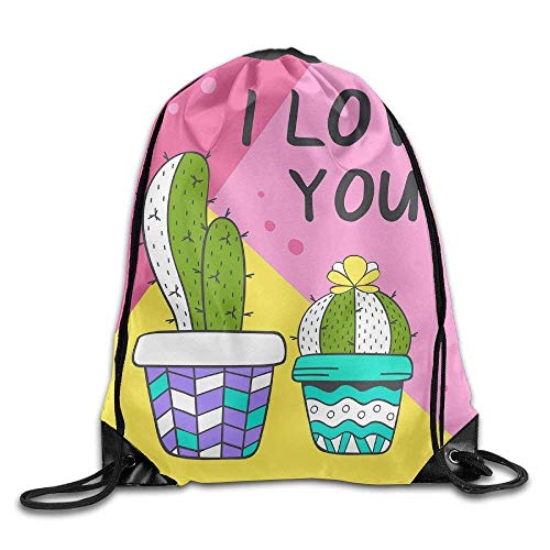 fengxutongxue Love with Cute Cacti Drawstring Backpack Travel -