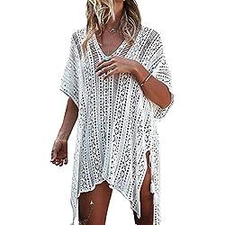 Tuopuda Mujer Pareos Playa Traje de Baño Vestido de la Playa Bikini Cover up Camisola de Playa (Blanco)