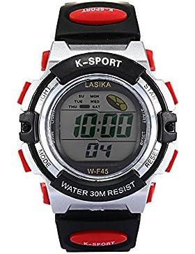W-F45 Armbanduhr - Lasika Kinder Schwimmen Sport Digital Armbanduhr W-F45 Wasserdicht Einstellbare (Schwarz +...