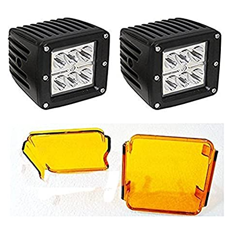 18W Cube Car CREE LED Work Lights Auto Headlights Spot Beam Driving Lamp with Amber Lens Cover for Offroad,Truck,Car,ATV,SUV,UTV,JK Wrangler,Fog,Motorcycle,Boat and Auxiliary Lighting Bulbs 3X3 inches(pack of