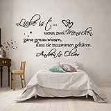 Wandschnörkel® WANDTATTOO *0308 Liebe ist...Schlafzimmer mit ,Namen personalisiert Schlafzimmer (1,20m x 0.51m, Schwarz)