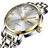 LIGE Resistente al Agua Relojes Hombre Acero Inoxidable Cuarzo analógico Reloje Hombres Ocio Negocios Fecha Dorado Blanco Reloj