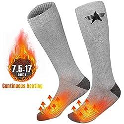 EEIEER Chaussettes chauffantes électriques Les Chaussettes chauffantes en Coton Chauffant Rechargeable Gardent au Chaud la Charge de réchauffement électrique du Pied