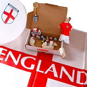 England Footie Fan Treat Box - World Cup Special – Balloons, Badge, Key ring, Flag and Chocolate Footballs - By Moreton Gifts