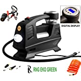 RNG EKO GREEN - Digital Double Cylinder Triple High Speed Rocky Car Air Compressor- Black (100% Copper Winding, 12V/220W/160PSI, Triple Fast Inflate 70L/min, Low Noise 85 Db)