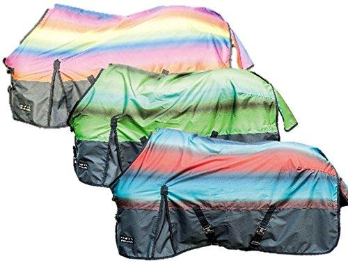 HKM Weidedecke Rainbow mit Polarfleecefutter grün/mittelblau 125cm