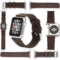 Fatto a mano in vera pelle Bracciale per Apple Watch Serie 1e 2incluso silbernem Connector - Serie 2 Coin