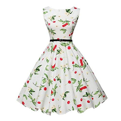 ntage Bodycon Sleeveless beiläufige Retro Abend Party Prom Swing Sleeves Dot Einfarbig Swing Kleider Retro Petticoat Faltenrock Party Club Oberteil Mini Kleid (S, Weiß F) (F Party Kostüme)