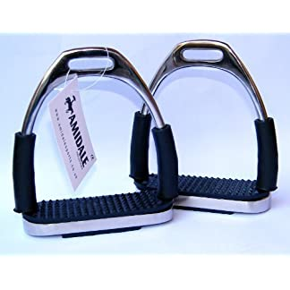 Amidale Flexi Safety Stirrups Horse Riding Bendy Irons Stainless Steel Black Treads 4.75 Inches 1