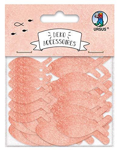 URSUS 56470002F Deko Accessoires Fische, 24 Stück in 3 verschiedenen Größen, beidseitig Bedruckt, Koralle