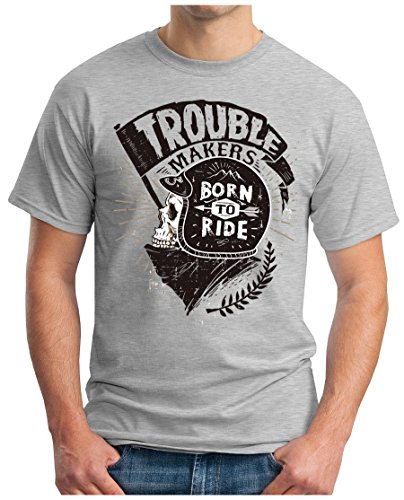 OM3 - BORN-TO-RIDE - T-Shirt GEEK, S - 5XL Grau Meliert