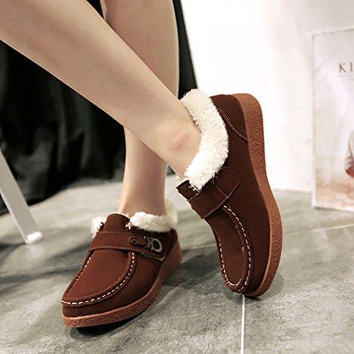 Femmes Mocassins Basse Suédé Hiver Automne Coton Duvet Chaud Antidérapant Chaussures Brun