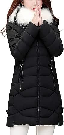 Giacca Donna Elegante Piumino Invernale Giubbotto Taglie Forti Giacche Pelliccia Parka Cotone Cappotto Giacca Slim in Cotone di Media Lunghezza Ampia Giacca con Cappuccio Collo in Pelliccia