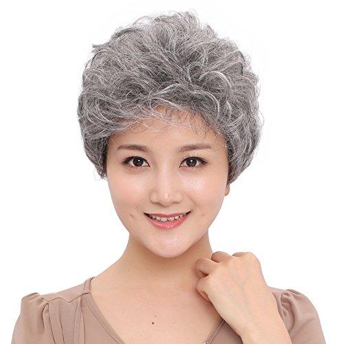 grau synthetische Perücken flauschig Little gewellt Mom grau Kostüm Perücken für Mitte Alter Frauen Office Lady (Mom Kostüme)
