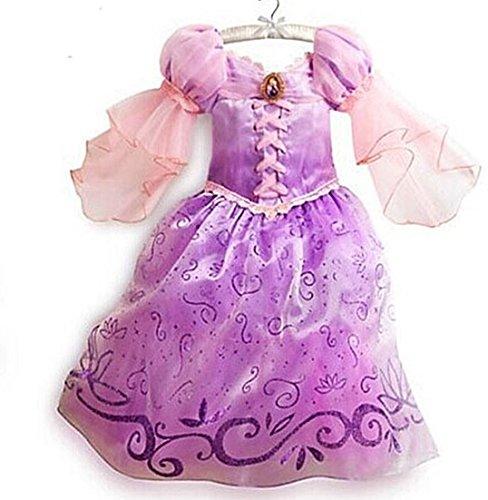 üm Prinzessin Kleid Lila Pink Größe 2-9 Jahre (Rapunzel Kostüm Für Kinder)