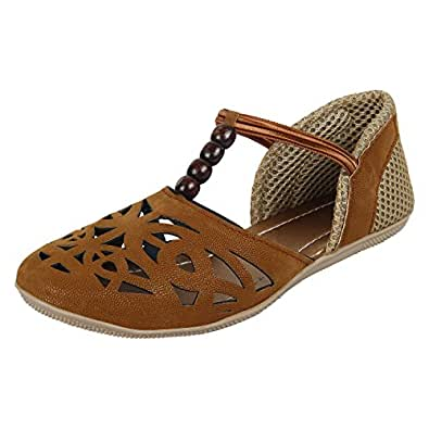 Authentic Vogue Women's Brown Flat Covered Sandal 8 UK