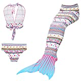 Maillots de bain loisirs sirène maillot de bain deux pièces Bikini 3pcs définit baignade spa Jeunes filles Cosplay Halter cou (blanc, 130)