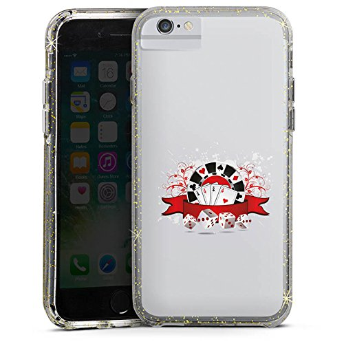 Apple iPhone 6s Bumper Hülle Bumper Case Glitzer Hülle Poker Cards Karten Bumper Case Glitzer gold