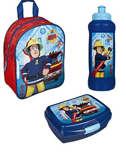 Feuerwehrmann Sam Rucksack Kindergarten 28x22x10 Brotdose Trinkflasche (172)