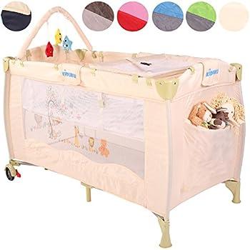 KIDUKU® Lit Bébé parapluie Lit pliant pour enfant Lit de voyage Lit d'enfant Lit pour nouveaux nés Lit pliant Lit d'appoint, niveau de couchage réglable pour nouveaux nés, 6 couleurs différentes, maniable (Beige)