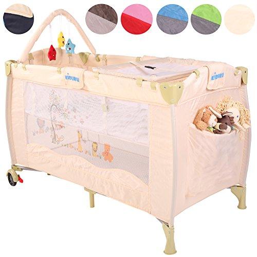 KIDUKU® Kinderreisebett Kinderbett Säuglingsbett Babybett Klappbett Reisebett für Kinder Zweitbett, mit zweiter Ebene für Kleinkinder/Säuglinge, kompakt, höhenverstellbar (Beige)