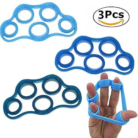 Chickwin 3PCS Silicone Hand Finger Exerciseur Force Exerciseur Doigt Trainer Résistance Pour Avant-Bras D'exercice Escalade Grips Piano Et La Thérapie Physique Entraînement (Bleu 3pcs)