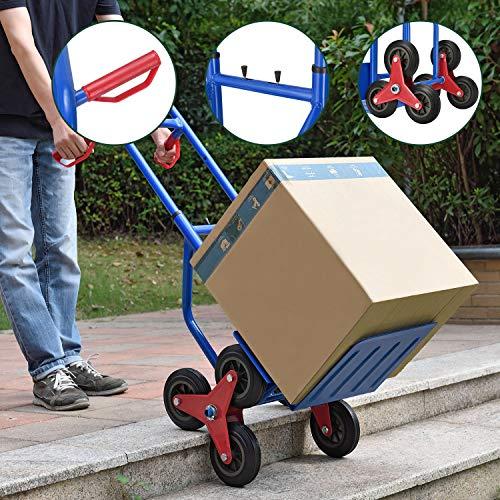 Juskys Treppensackkarre klappbar   200 kg belastbar   Hartgummireifen   Kunststoff Griffe   Stahl Rahmen   Treppenkarre Treppensteiger Karre