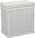 korb.outlet Wäschekorb/Wäschebox mit Deckel und Inlett aus echtem Rattan, Wäschetruhe (Weiß, Klein)