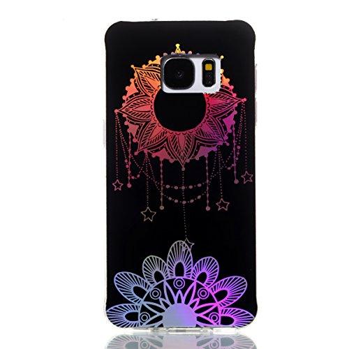 MoreChioce kompatibel mit Galaxy S7 Hülle,Farbverlauf Hülle kompatibel Galaxy S7, Bunt Gradient Sonnen-Totem Durchsichtig Glitzer Silikon Handyhülle Kratzfeste Bling Paillette Bumper,EINWEG