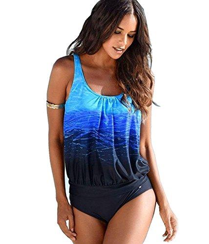 Ahoome costumi da bagno estate tankini donna bikini due pezzi plus size swimwear