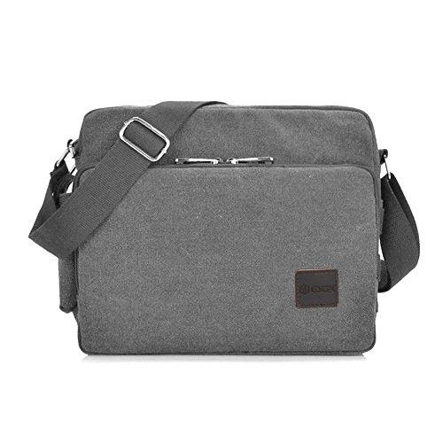 Messenger Bag, GSTEK Unisex Vintage Canvas Messenger Bags Casual Spalla Dell'imbracatura Pacchetto Daypack Bauletto per Lavoro, a Scuola, Uso Quotidiano - 30cm (L) x 10cm (W) x 26cm (H), 26 Tasche - Grigio