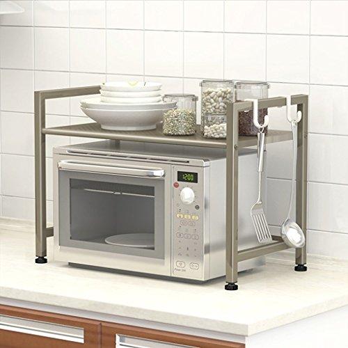 GRY Küche Mikrowelle Racks Schränke Küche Supplies Regale 2 Storey Regale,Champagner Gold