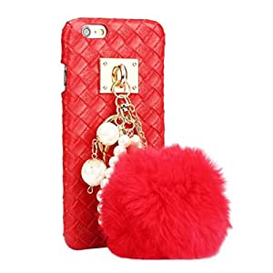 iPhone 6 plus/6S plus 5.5 inch Case DZT1968 Fashion Hairy Hairball Weave Hard Case Cover for iPhone 6 plus/6S plus 5.5 inch (Red)