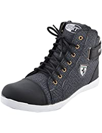 Rudose Mens Black Ankle Length Casual Shoes