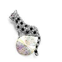 Glamorousky Elegant Leopard Brooch with Black and Silver Austrian Element Crystal (325)