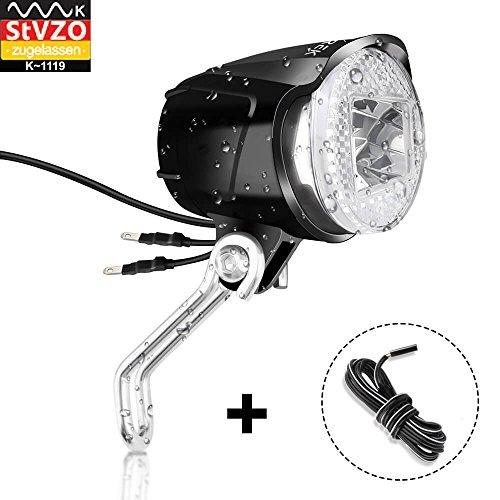 toptrek Fahrradlicht Vorne StVZO zugelassen (K~1119) Retro Fahrradlampe Nabendynamo 6V~48V Fahrrad Scheinwerfer Dynamo Led Fahrradbeleuchtung IPX5 Wasserdicht - Lampe Standlicht Set