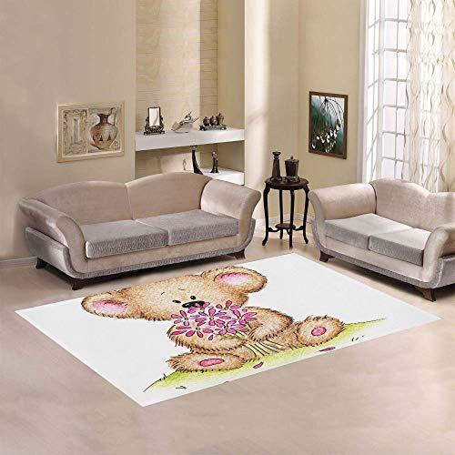 Yushg Niedliche gezeichnete Teddybär Blumen große Rutschfeste Moderne Boden orientalischen Bereich Teppich kommerziellen Teppich Pad Mat für Keller Schlafzimmer Wohnzimmer Küche Home Decor 5 'X 7'