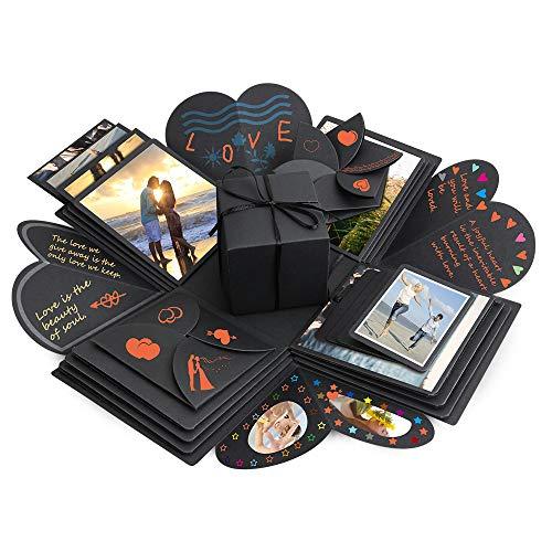 Komake Überraschung Box, Explosion Box, DIY Geschenk Scrapbook and Foto-Album für Weihnachten/Valentine/Jahrestag/Geburtstag/Hochzeit (Schwarz)