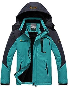 Sawadikaa Mujer Chaqueta de Esquí Chubasqueros Al Aire Libre Impermeable Chaqueta de Nieve Lana Capa Excursionismo...