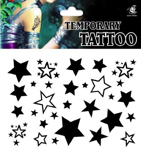 SPESTYLE wasserdicht ungiftig temporäre Tätowierung stickerslatest neue Design neue Release Männliche und weibliche temporäre Tattoos wasserdicht Sterne -Sterne- Fake Tattoo (Kit Tätowierung)