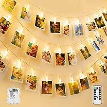 Luci Clip Foto, BrizLabs 50 LED Foto Clip Stringa Illuminazione Interno Esterno Foto Clips Mollette, Batteria 8 Modalità Impermeabile Luci Led Foto Clip per Camere Matrimonio Festa di Compleanno