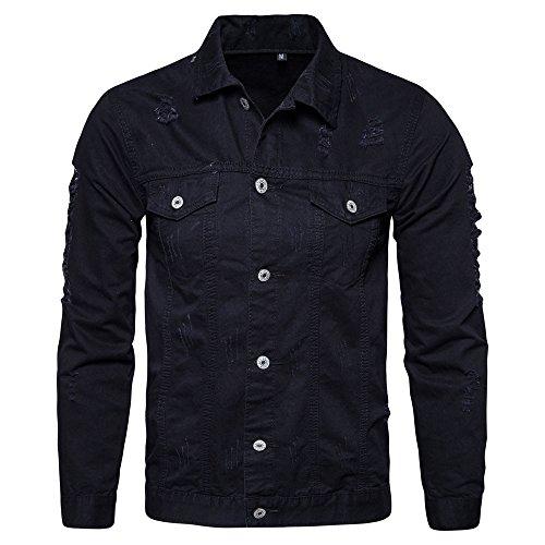 Preisvergleich Produktbild BBring Herren Jeansjacken,  2017 Neuer Herbst Winter Outdoor Jacken Loch Langarm Denim Jacke Tops Mantel Outwear (M,  Schwarz)