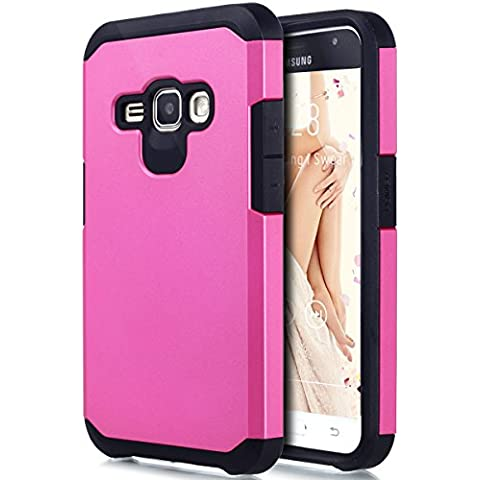 Cover Galaxy J1 2016,Custodia Galaxy J1 2016,ikasus® [Heavy Duty Serie] Hybrid Outdoor Dual Layer Armor Custodia custody sleeve Case Cover per Galaxy J1 2016 Custodia Cover [Shock-Absorption] Ultra Sottile Silicone Hard Back Gel Cover Custodia chic Case Super Sottile Bumper Case Custodia Cover per Samsung Galaxy J1 (2016) SM-J120F (4.5