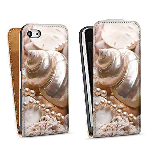 Apple iPhone 4 Housse Étui Silicone Coque Protection Coquille d'escargot Perles Coquillages Moules Sac Downflip blanc