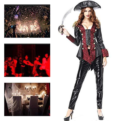 JH&MM Halloween Kostüm Frauen Sexy Kunstleder Westlichen Weiblichen Piraten Dämon Anzug Rolle Maskerade Leistung Zu Spielen (Weibliche Sheriff Kostüm)