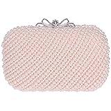 Santimon Damen Clutch Abendtasche Handtasche Handgemacht Elegant Zweiseitig Perlen Beaded Party Brauttasche Unterarmtasche Pink