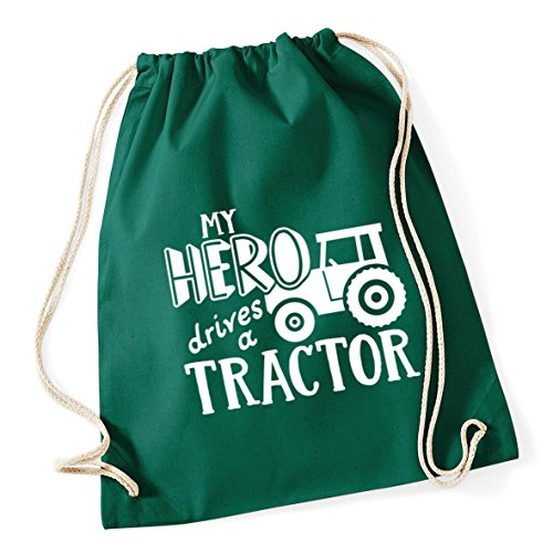 HippoWarehouse My Hero Drives a Tractor Drawstring Cotton School Gym Kid Bag Sack 37cm x 46cm, 12 litres